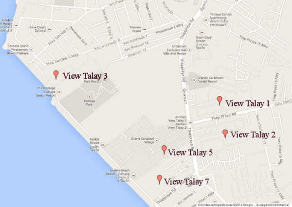 Map To Locate Our Apartments In Pattaya Thailand